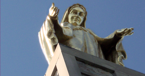 Closeup of monument at Mount Seton