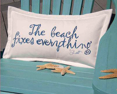 pillow on a beach chair with starfish