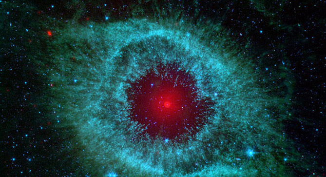 Closeup, false color pic of Spitzer Nebula
