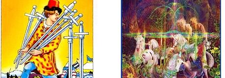 closeup of Sevens of Swords vs. Air