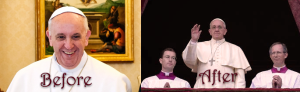 Pope Francis - Newly Installed (March) and Current (December) 2013