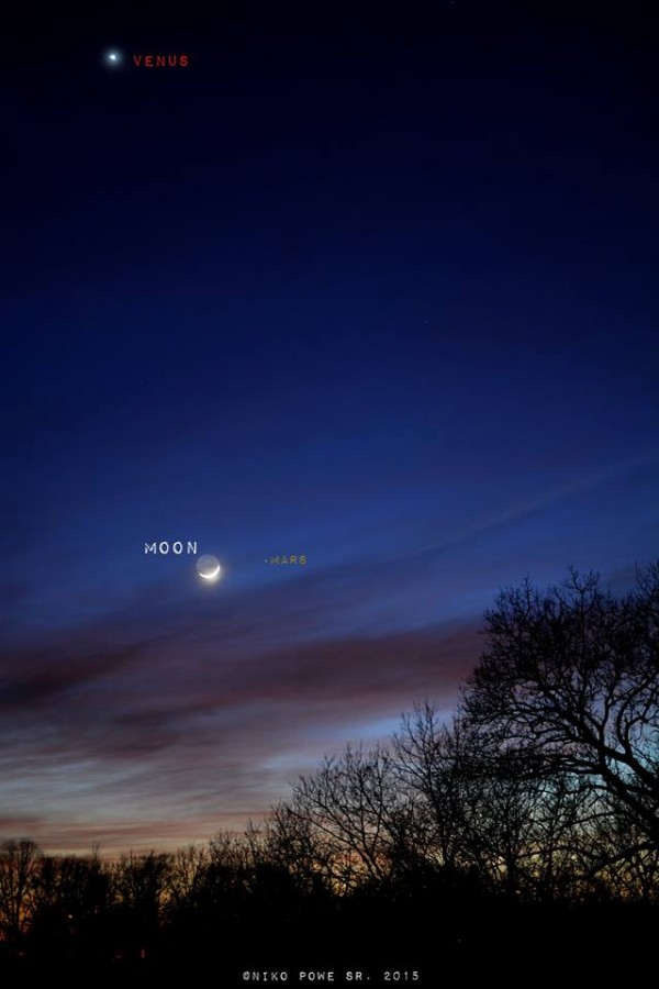Big Bright Venus and New Crescent Moon