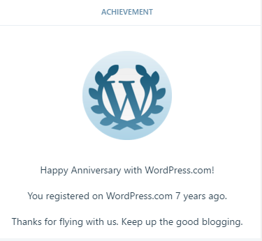 Seven Year Anniversary on WP!
