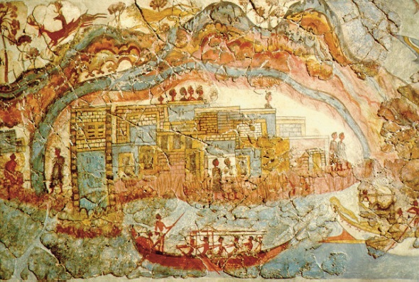 Minoan_fresco,_showing_a_fleet_and_settlement_Akrotiri